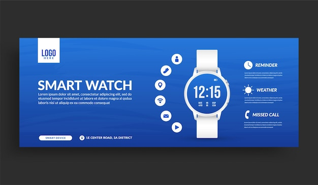 Белые умные часы изолированы с копией пространства шаблона баннера в социальных сетях