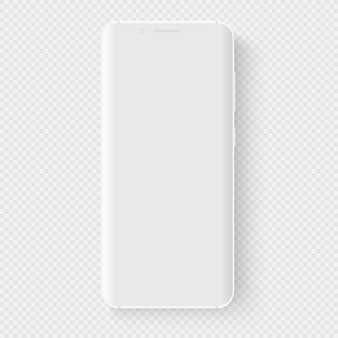 White smartphone. 3d realistic template of imaginary phone. empty screen with thin grid for inserting any ui. floating mock up with a blank display for business presentations. perspective view.