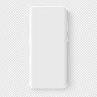 Белый смартфон. 3d реалистичный шаблон воображаемого телефона. пустой экран с тонкой сеткой для вставки любого пользовательского интерфейса. плавающий макет с пустым дисплеем для бизнес-презентаций. перспективный вид.