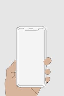 白いスマートフォン、手で保持された空白の画面、デジタルデバイスのベクトル図