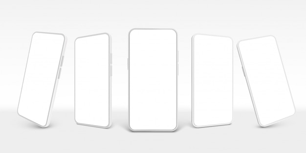White smartphone . mobile phone, empty smartphones and modern frameless smartphone device screen realistic 3d template set. cellphone cliparts collection