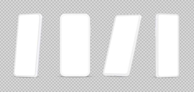 흰색 스마트폰 모형. 빈 화면 템플릿이 있는 격리된 3d 전화. 다른 관점 현대 현실적인 핸드폰 벡터 일러스트 레이 션. 스크린 스마트 모바일, 목업 스마트폰 기기