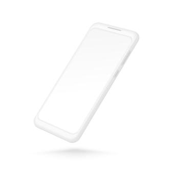 Белый смартфон. реалистичный мобильный телефон 3d с пустым экраном. современный телефонный шаблон, изолированные на белом фоне.