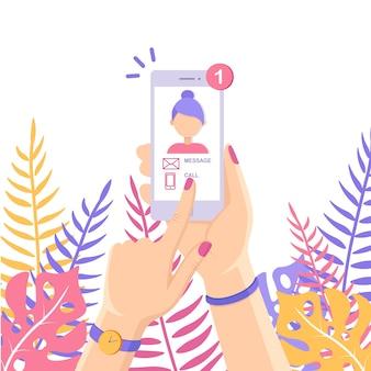 メッセージと白いスマートフォン、画面上の通知を呼び出します。ディスプレイ上の女性の写真。新着メールに関する携帯電話アラート。