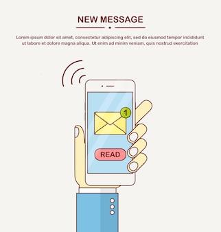 화면에 메시지 알림이있는 흰색 스마트 폰입니다. 새 이메일에 대한 휴대폰 경고