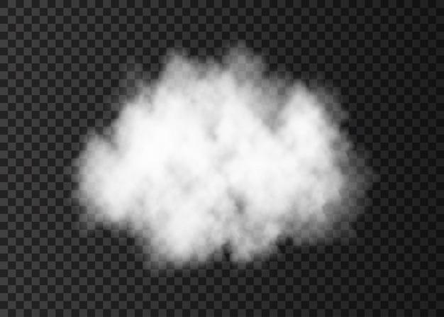 透明な背景に分離された白い煙の雲