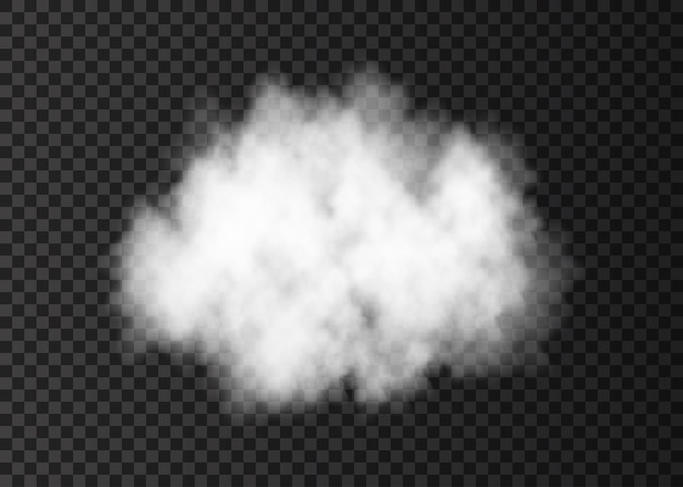 White smoke cloud isolated on transparent background