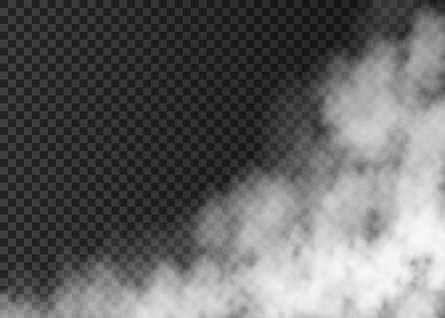 투명에 고립 된 흰 연기