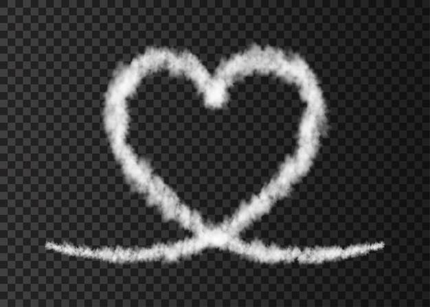 투명 한 배경 사랑 증기 효과에 고립 된 흰 연기 비행기 심장 흔적
