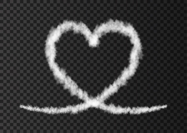 White smoke  plane  heart trail isolated on transparent background  love steam  effect