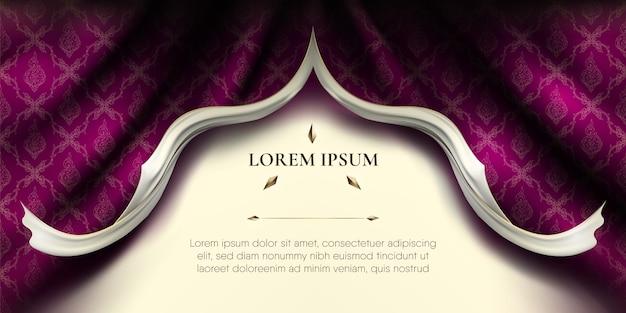 Белые гладкие рваные края завитков на волнистой фиолетовой шелковой ткани занавески с тайским узором