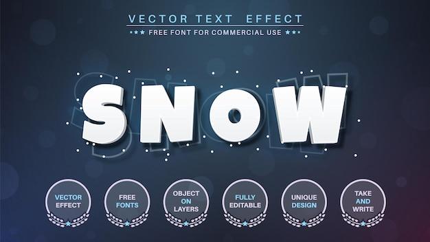 흰색 스누-편집 가능한 텍스트 효과, 글꼴 스타일.