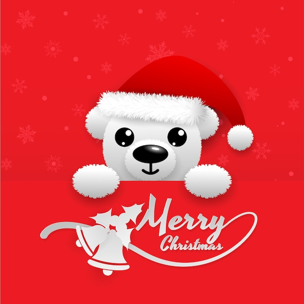 赤い背景、鐘、雪片、赤い帽子、テキストメリークリスマスに白雪のクマ