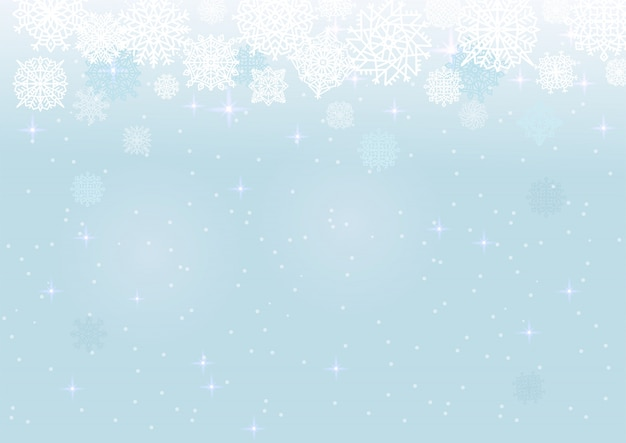 White snow on the blue mesh background, winter and christmas theme.