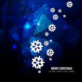 White snowflakes on blue polygonal background