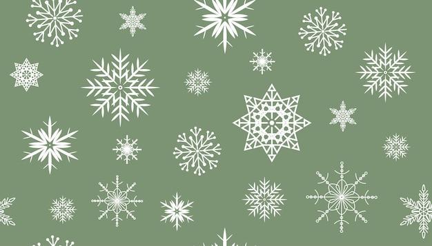 White snowflakes on green background, seamless pattern