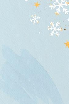 水色の背景に白い雪片