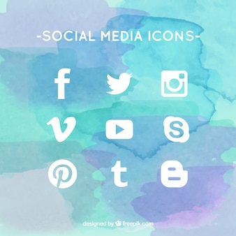 White social media icons set