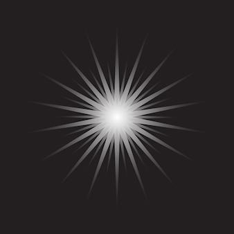 装飾デザインのための黒い背景に分離されたスターバースト形状のアイコンと白い輝く星