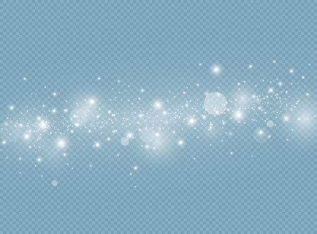 흰색 불꽃과 반짝이 특수 조명 효과 빛나는 보케가 격리됩니다.