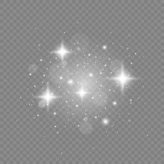 하얀 불꽃과 반짝이 특수 조명 효과