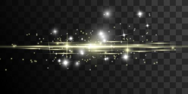 白い火花と金色の星が特別な光の効果を輝きます。透明な背景の上で輝きます。抽象的なパターン。輝く魔法の塵粒子