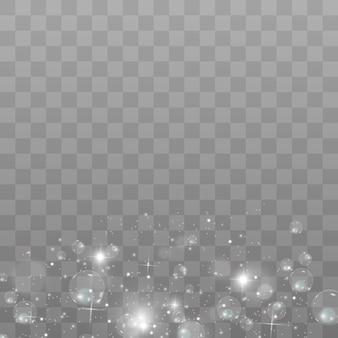흰색 불꽃과 황금 별이 반짝이는 특수 조명 효과. 투명 배경에 반짝임. 추상 패턴입니다. 반짝이는 마법 가루 입자