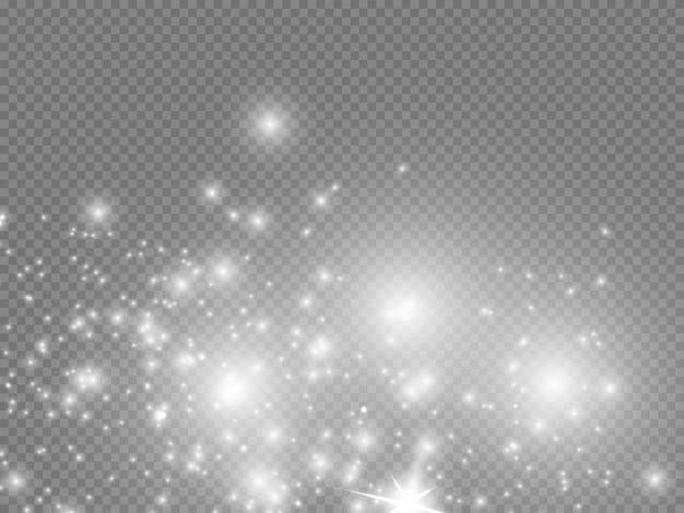 흰색 불꽃과 황금 별 반짝이 특수 조명 효과