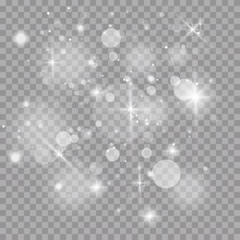 하얀 불꽃과 황금빛 별이 특별한 조명 효과로 빛납니다.