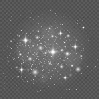 흰색 불꽃과 별이 반짝이는 특수 조명 효과