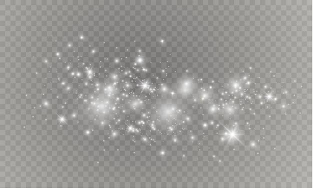 화이트 스파크 반짝이 특수 조명 효과. 투명 배경에 반짝임. 반짝이는 마법 가루 입자