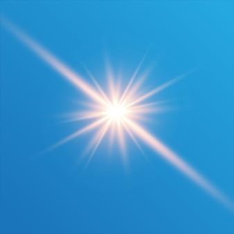 투명 배경에 흰색 불꽃 반짝임 특수 조명 효과 반짝임