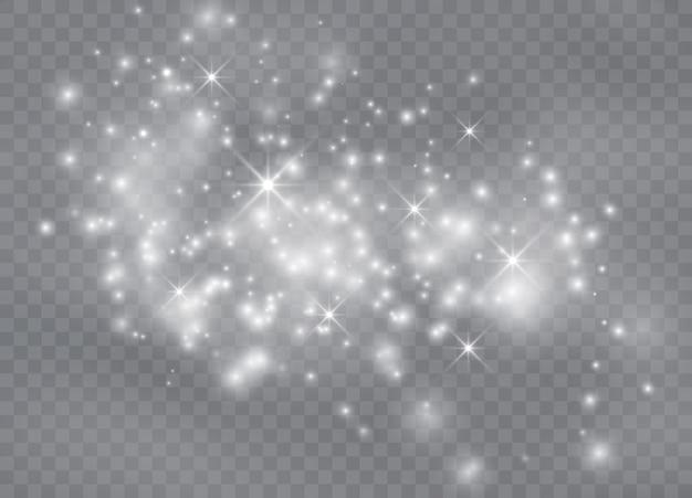 화이트 스파크 반짝이 특수 조명 효과. 반짝이는 마법의 먼지 입자.