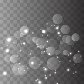 White sparks and golden stars glitter special light effect.