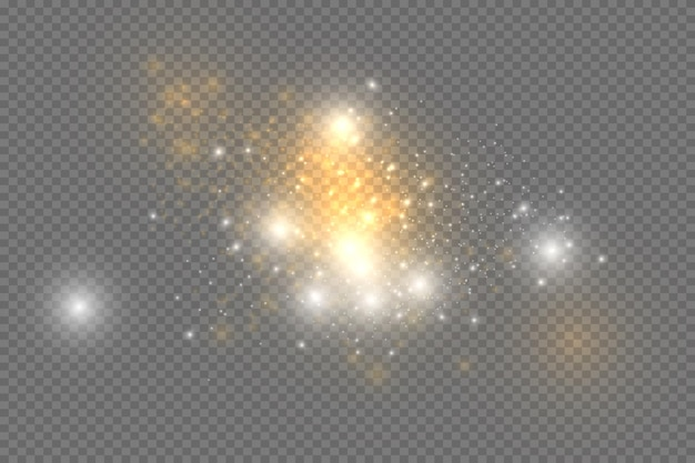 White sparks and golden stars glitter special light effect