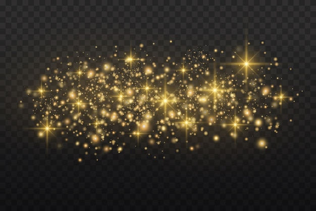White sparks and golden stars sparkle with a special light effect. sparkling particles of fairy dust.