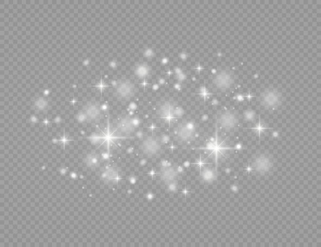 白い火花、星は特別な光の効果で輝きます。