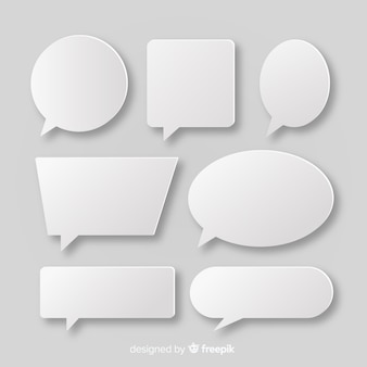 White speech bubble collection in paper style