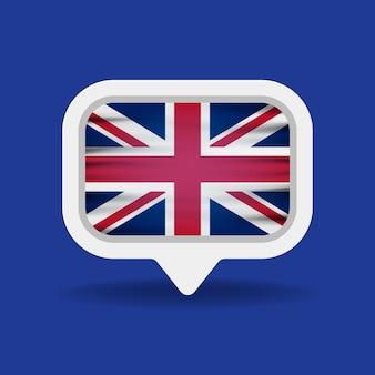 Белый речевой пузырь с флагом великобритании