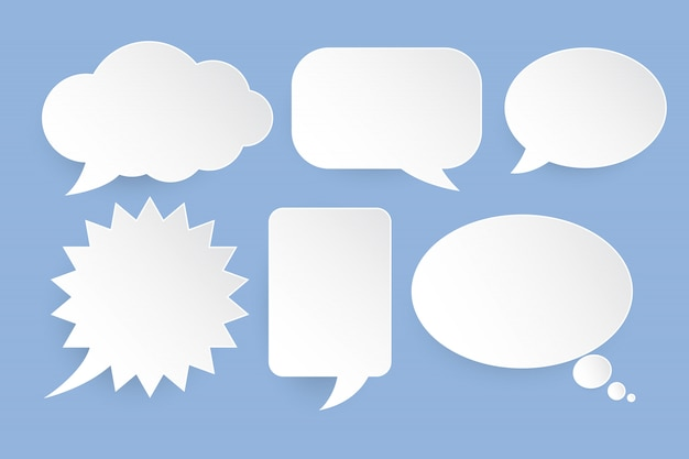 White speech bubbles set on blue background