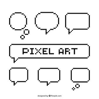 White speech bubbles set in pixel art style