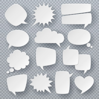 White speech bubbles. thought text bubble symbols, origami bubbly speech shapes. retro comic dialog clouds vector set