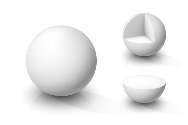 White sphere, cutaway sphere and hemisphere