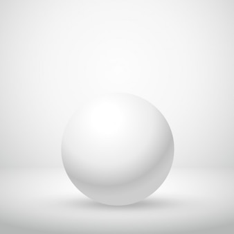 White sphere in empty room