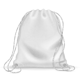 White sports backpack, backpacker cloth bag with drawstrings. isolated vector template