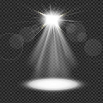 透明の背景に白いスポットライト
