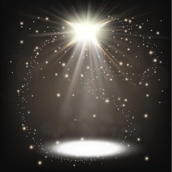 スプリンクルを浮かべて輝く白いスポットライト