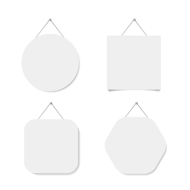 White square, circle, hexagon label used for hanging. vector illustration