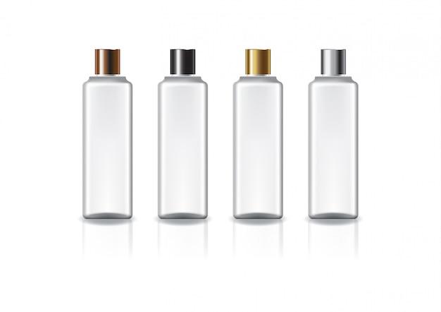 아름다움 또는 건강한 제품을위한 4 개의 색깔 보통 나사 뚜껑을 가진 백색 정연한 화장 용 병.