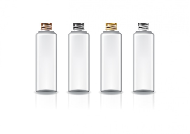 아름다움 또는 건강한 제품을위한 4 개의 색깔 나사 뚜껑을 가진 백색 정연한 화장 용 병.